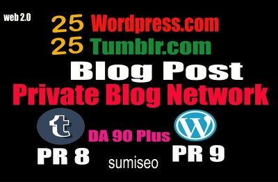 50 Blog POSTs Tumblr and WordPress 90 High DA