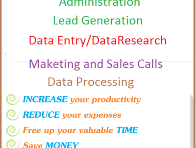 Be your VA for 3 hrs and deliver you Admin support/data entry/Lead Gene. cold calls