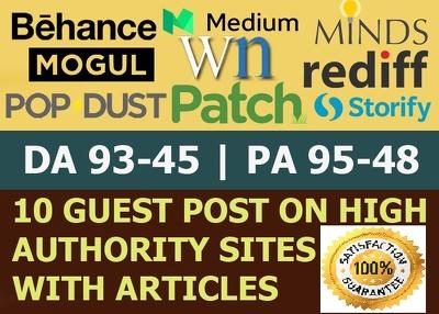 Write Publish 10 X High Authority Guest Post [DA 93-45] Not PBN