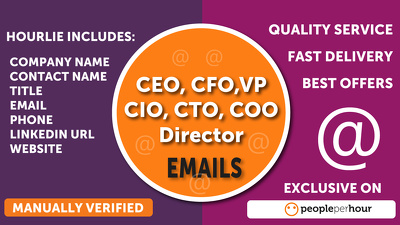 Find CEO,CFO, Director, Email, Phone, Website from Linkdin & Google upto 100 Leads