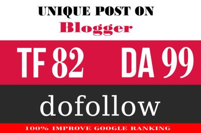 Write And Publish Your High TF 85 Unique Blogger Blogger.com Guest Post DA 99