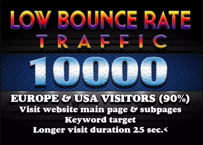 Drive 600-700 daily worldwide low bounce traffic for 15 days