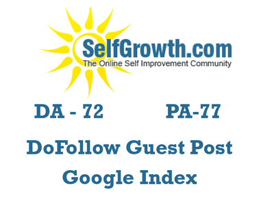 Publish a do follow guest post on SelfGrowth DA72 with Google Indexed