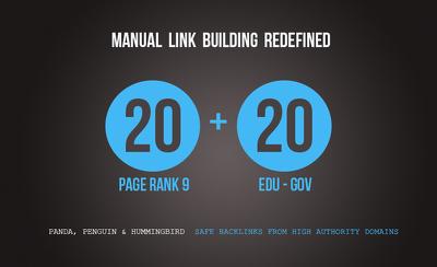 20 PR9 + 20 ( .EDU & .GOV ) Backlinks From Authority Domains