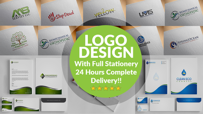 design a clean, modern logo with 3 concepts  + Business Card + Letterhead + envelope