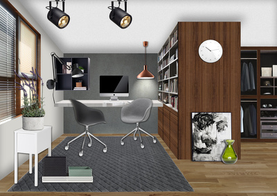 Make detailed interior design collage