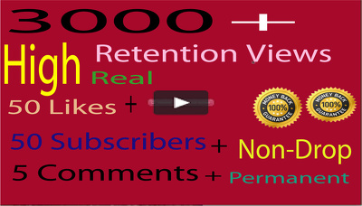 You Tube 3000 Viewers + 50 likes + 5 comments +50 Subscribers Increase Seo Promotion