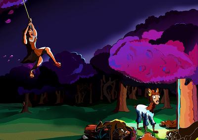 Illustrate any scene in vector cartoon style
