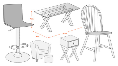 Create a computerised line drawing of your furniture for web/brochure