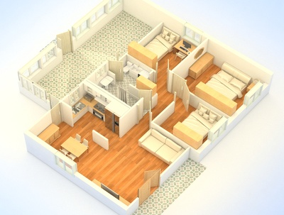 Provide 3d Rendering of Apartment/Residence
