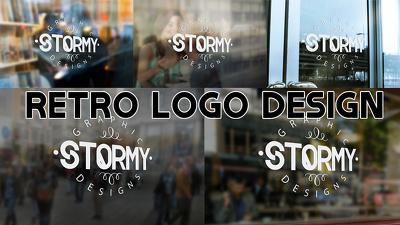 Design eye catching retro logo on window + source Files + colour Codes