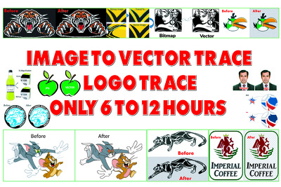 Do Vector Trace, Convert Image To Vector, Logo to Vector AI, EPS, Png