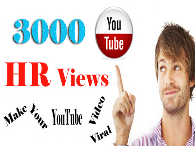 Video Marketing: Add 3000 HR YouTube Views.