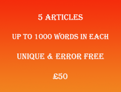 Write you 5 unique and error free articles
