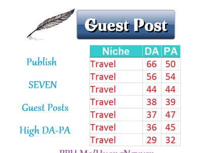 Publish 7 Guest Posts TRAVEL Niche Links Building SEO