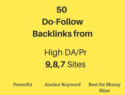 50 Do-Follow Powerful Backlinks from Pr 9,8,7 sites (Microsoft, Amazon) for SEO