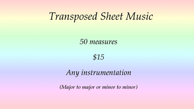 Transpose up to 50 measures of sheet music for any instrument