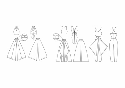 Create technical garment drawings which includes fastening details.
