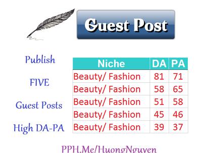 Publish 5 Guest Posts BEAUTY FASHION WOMEN Niche Links Building SEO