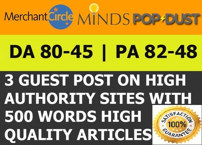 Guest post on Minds, Merchantcircle & Popdsut [DA 45 - 82]+ Articles