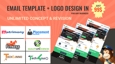 Design Logo+free favicon+ HTML Email newsletter or Email campaign+unlimited revisions