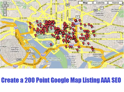 Create a 200 point google map Listing to boost google place ranking