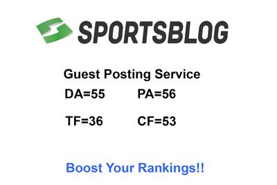 Publish Guest Post on Sports Website - DA 55 PA 56 TF 36 CF 53