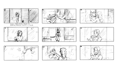 Produce a 10 panel black and white storyboard for your project