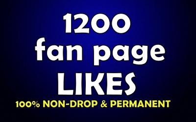 Provide 1200 genuine and permanent fan page likes fast