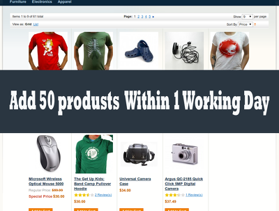 Add 50 products to your ecommerce magento store