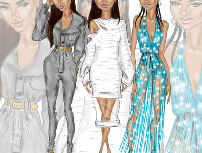 Bring designs to life creating coloured fashion sketches on models for your brand