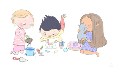 Create cute and colorful children's illustration