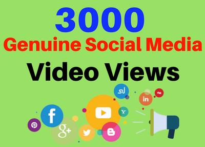 Added 3000 genuine social media video views