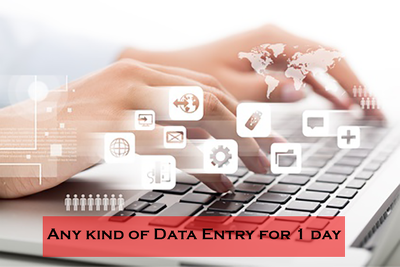 Do any kind of data entry work for 1 day (8 hours)