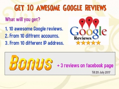 Give you 10 real & active Google plus reviews on your business