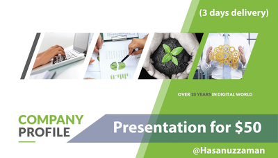 Design professional presentation for company profile within 3 days