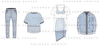 Create 8 fashion technical drawings