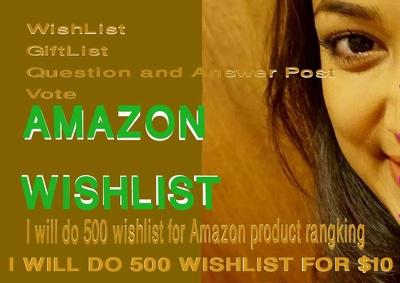 Do 500 TOS friendly WishList to ranking Amazon products.