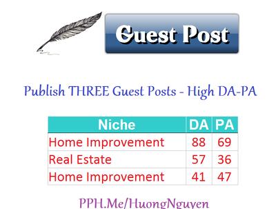 Publish 3 Guest Posts HOME IMPROVEMENT Content Marketing SEO + 2 BONUS Guest Posts