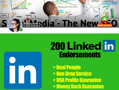 Add 200 real endorsements to your Linkedin page to rocket your credibility