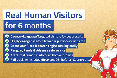 Unlimited TARGETED real human Website TRAFFIC for 6 months. (Safest, No bot)