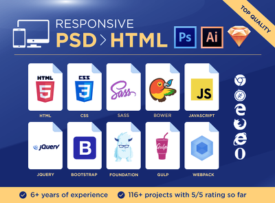 Sexy PSD to Responsive HTML Conversion Using Bootstrap 3 + SASS + jQuery