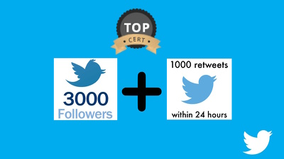 Create a 1000 real Twitter followers or 500 Retweets or likes