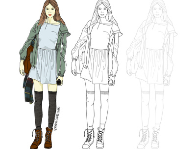 Create your fashion designs, technical drawing and on figure