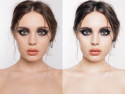 Retouch one portrait image to high-end beauty standards in Photoshop