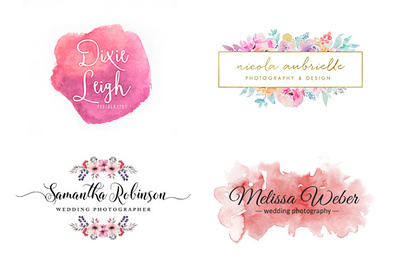 Design your amazing water color hand draw floral and feminine logo