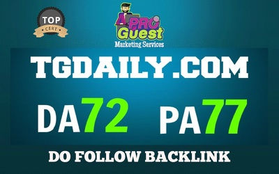 Publish an Exclusive guest post on TGDAILY.COM DA 72 PA77