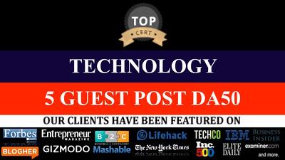 4 GUEST POSTS ON Technology niche DOFOLLOW LINKS DA 20 -DA50