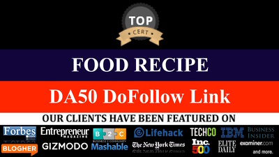 2 GUEST POST FOOD RECIPE NICHE DOFOLLOW LINKS DA 20 -DA50