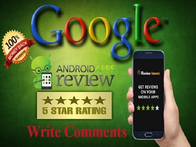 Provide 15 Android apps reviews with 5 star Rating and Comment from google play store